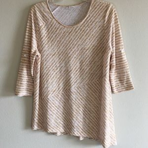 STRIPED TUNIC TOP HIGH LOW UNEVEN LONG SLEEVE